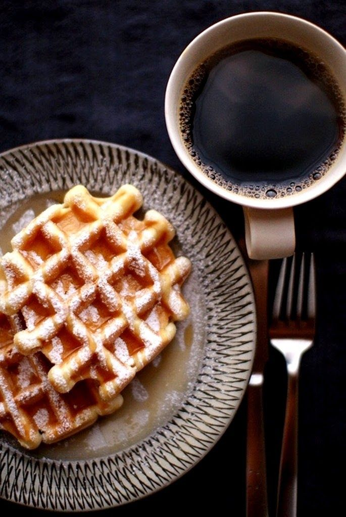 I am so in love with this for breakfast right now - Belgium waffles with a strong coffee, perfection