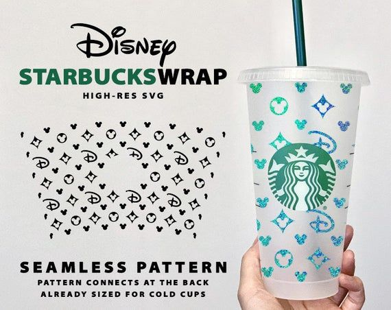 Seamless Disney Lv Starbucks Wrap Pre Sized For Starbucks Etsy In 2020 Starbucks Cups Cold Cup Cricut Projects Vinyl