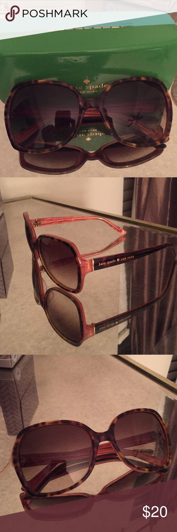Kate Spade sunnies! Kate spade sunglasses with a brown tortoise and pink accent color. Says brand name on one side, comes with case. kate spade Accessories Sunglasses