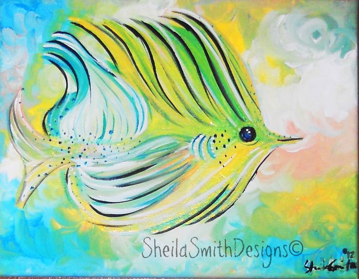 Tropical Fish Art, Simple Fish Art, Bright Fish painting, Ocean fish Painted on stretched canvas by artist, Sheila Ann Smith by SheilaSmithDesigns on Etsy