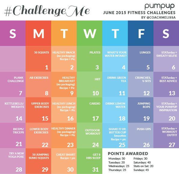 #ChallengeMe June Fitness Challenge Calendar