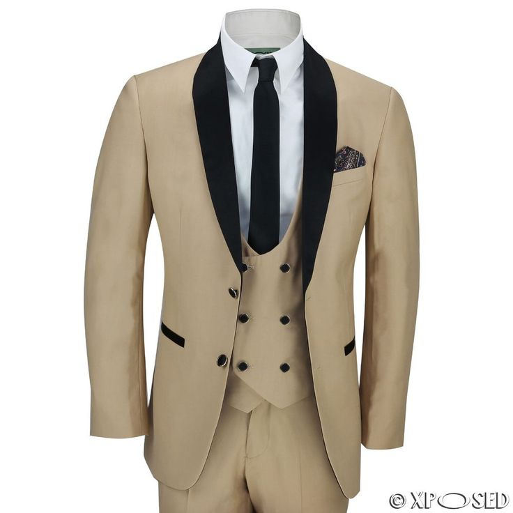 Mens 3 Piece Black Shawl Lapel Champagne Gold Slim Fit Vintage Suit Wedding Prom
