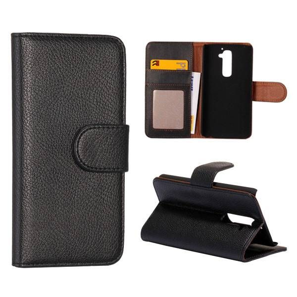Zwart lychee bookcase hoesje voor LG G2