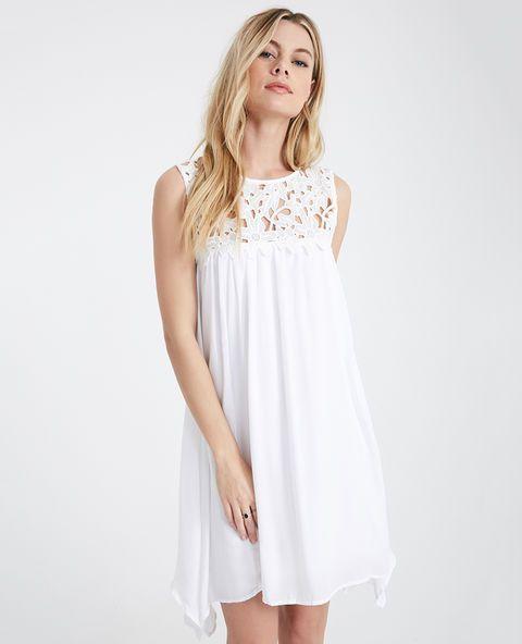 "<p>This delicately flowy shift dress features super soft woven fabric, a floral pattern crocheted yoke, a buttoned keyhole at the back, and an airy feminine silhouette.</p> <p>Model wears a size small.</p> <ul> <li>Scoop Neckline</li> <li>Sleeveless</li> <li>Pull-on Construction</li> <li>Lined</li> <li>35"" From Shoulder to Hem</li> <li>Polyester</li> <li>Hand Wash</li> <li>Imported</li> </ul>"