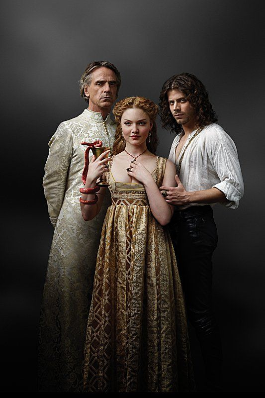 Jeremy Irons, Holliday Grainger and Francois Arnaud in The Borgias