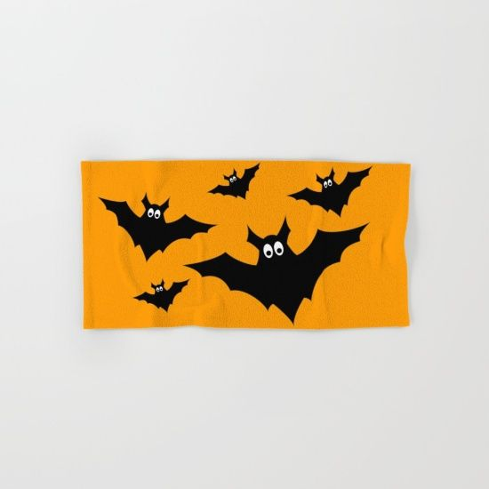 cool cute black flying bats halloween hand bath towel - Halloween Bath Towels