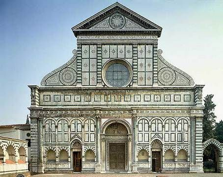 LEON BATTISTA ALBERTI. Santa Maria Novella (west facade), Florence, Italy, 1458-1470. Early Renaissance.  A Gothic church with an Early Renaissance facade commissioned by the Rucellai family.