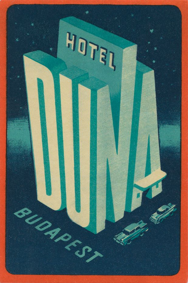 Hotel Duna Budapest Poster. Just a hint of American diner. Great colour.