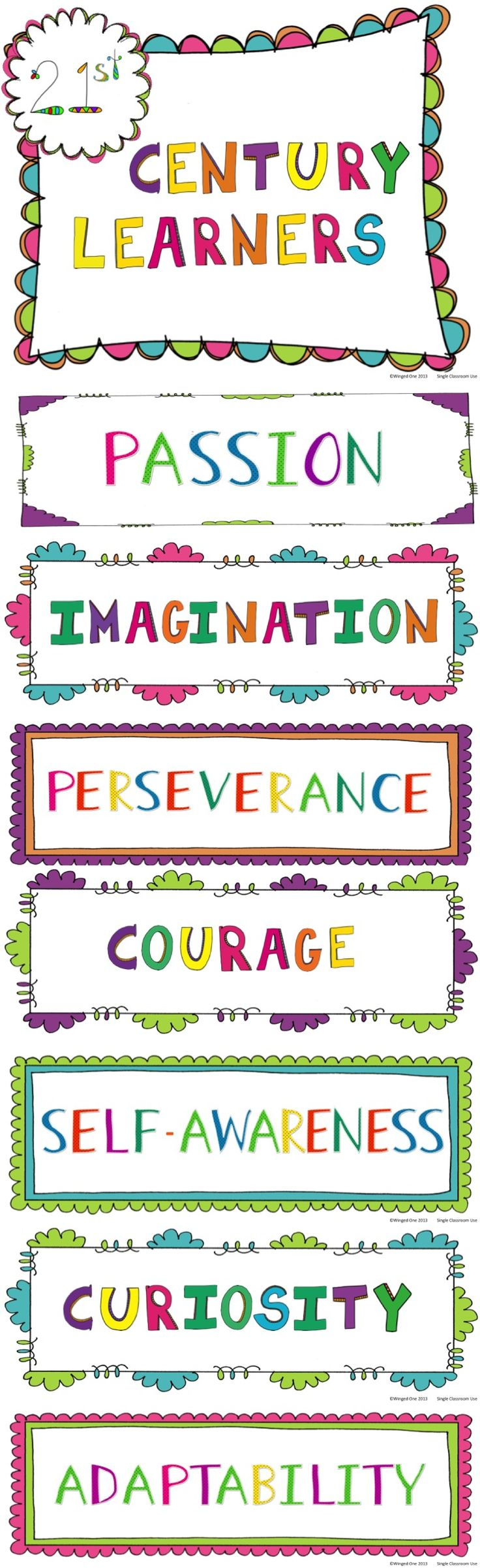21st Century Learners Posters: Passion, Imagination, Perseverance, Courage, Curiosity, Adaptability $