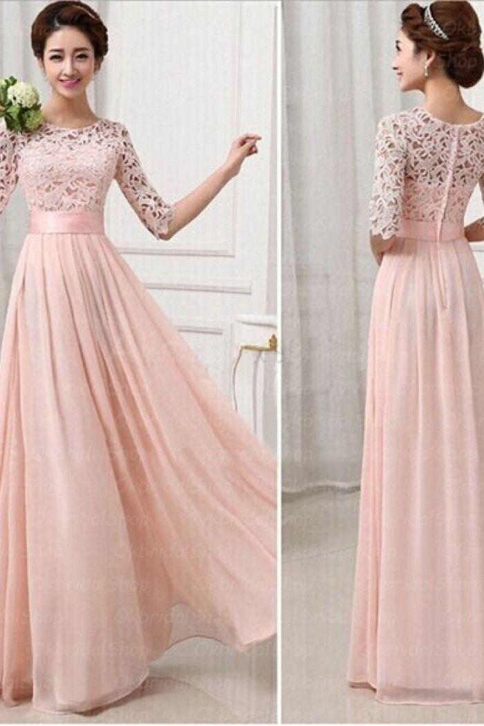 74110714658 Half Long Sleeves Pink Lace Chiffon Bridesmaid Dress