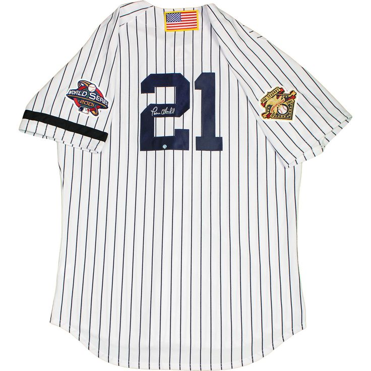 Paul O'Neill Signed New York Yankees Authentic Pinstripe Jersey with 2001 WS Patch, AL 100th Anniversary Patches , USA Flag and Armband (Size 48)