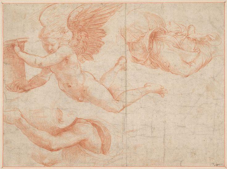 Raphael Raffaello Sanzio 1483 1520 Italian Studies For The Angel