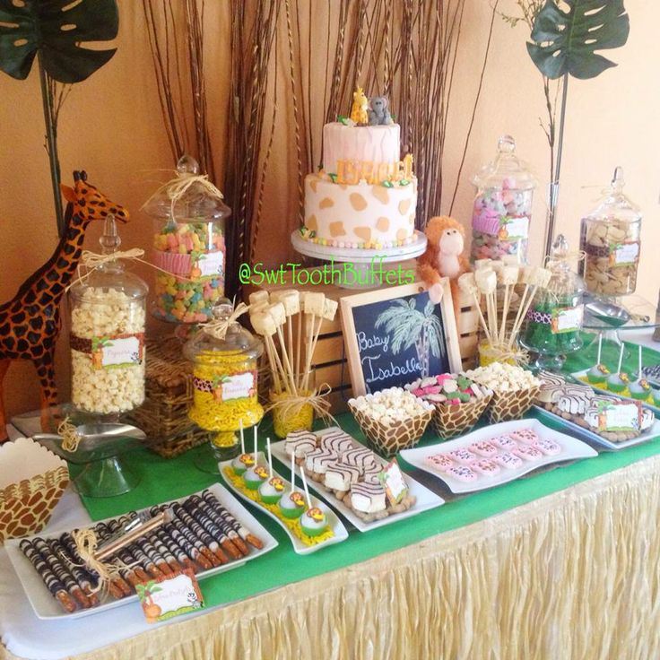 Safari babyshower candy and desserts table cake pops for Baby shower party junge
