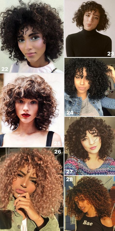 40 CABELOS COM FRANJA - Cabelos cacheados e ondulados com franja. Tendência 2018. Pictures of hair with bangs: curly hair, straight hair and wavy hair for summer 2018. @ohlollas www.ohlollas.com #BangsHairstylesCurly