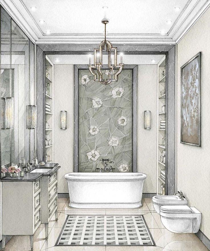 bathrooms sketch queen furniture arrangement house projects fixer upper interior design drawing perspective