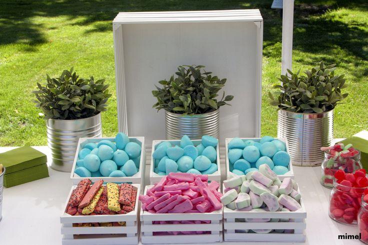 Mesa de chuches boda de l mimel sweets events corner - Como decorar cajas de madera para centros de mesa ...
