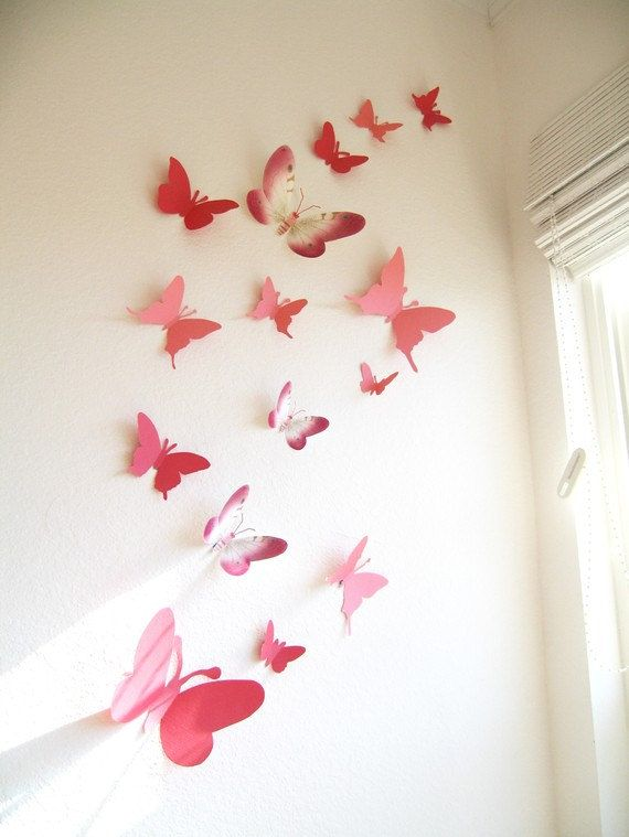 15 3D Paper Butterflies, 3D Butterfly Wall Art, Wall Decor, Butterfly Silhouettes, Red, Pink,Nursery, Baby, Wedding, Baby Shower, Girls Room. $25.00, via Etsy.