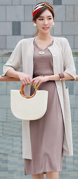 StyleOnme_Two-Way Wear Button-Up Jacket Dress #beige #jacket #koreanfashion #kstyle #kfashion #summerlook #feminine #stylish #seoul