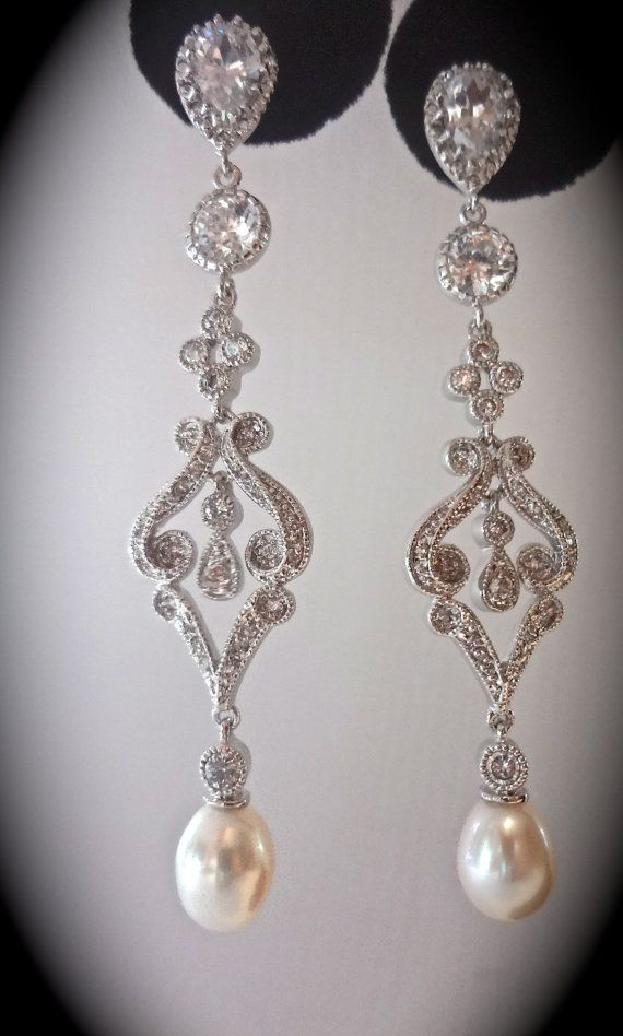 Bridal jewelry Pearl earrings Freshwater by QueenMeJewelryLLC, $62.99