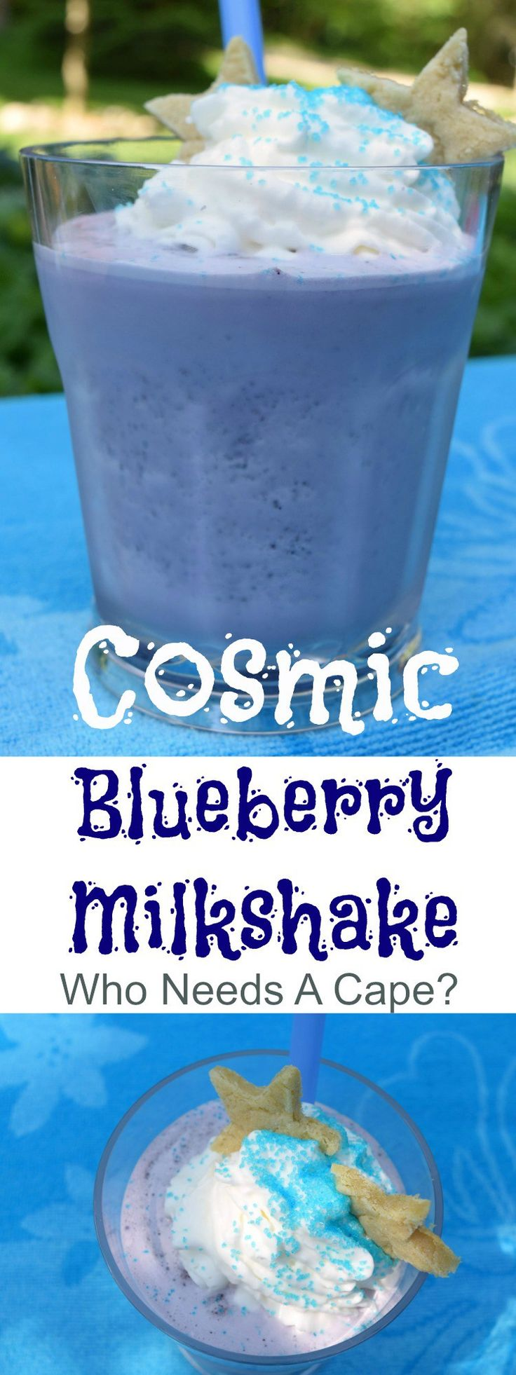 Your kids will go out of this world crazy for a Cosmic Blueberry Milkshake! Loaded with yummy berries and ice cream, this is a summer favorite. Plus find out what delicious frozen food I'm serving alongside. | Who Needs A Cape? #ad #TysonLifesAnAdventure #ExploreIt