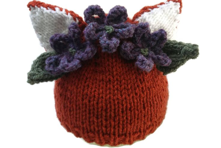 Fox Hat with Woodland Flower Garland Baby Beanie Flowers Animal Xmas Gift Floral Crown by thekittensmittensuk on Etsy
