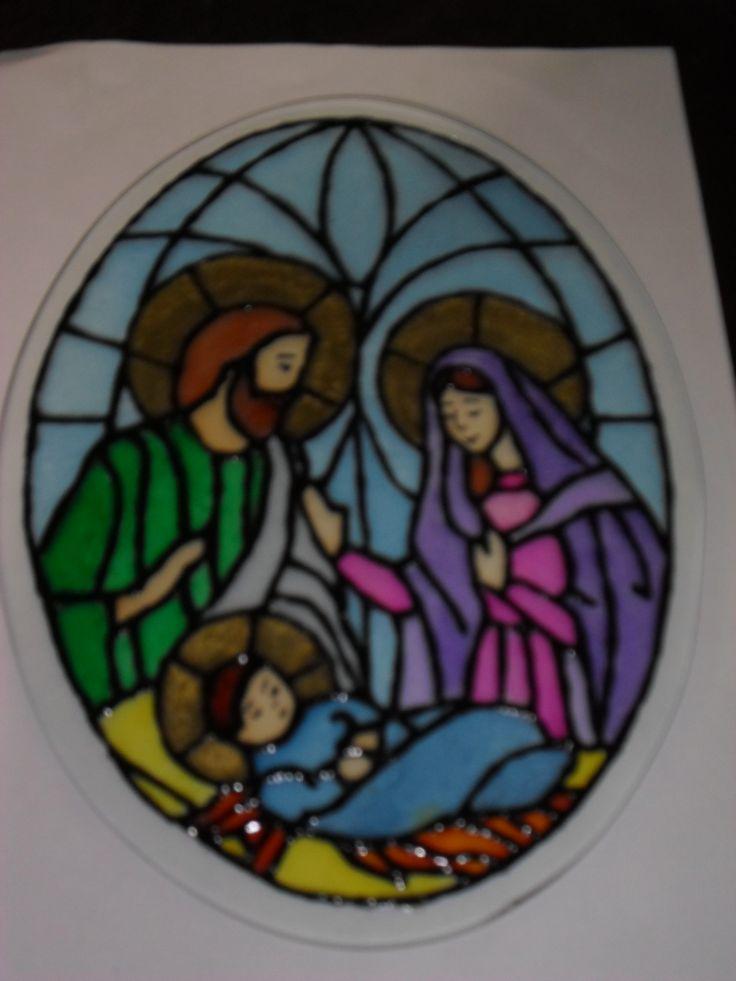 Sagrada Familia Pintura en Vidrio Tecnica Falso Vitral