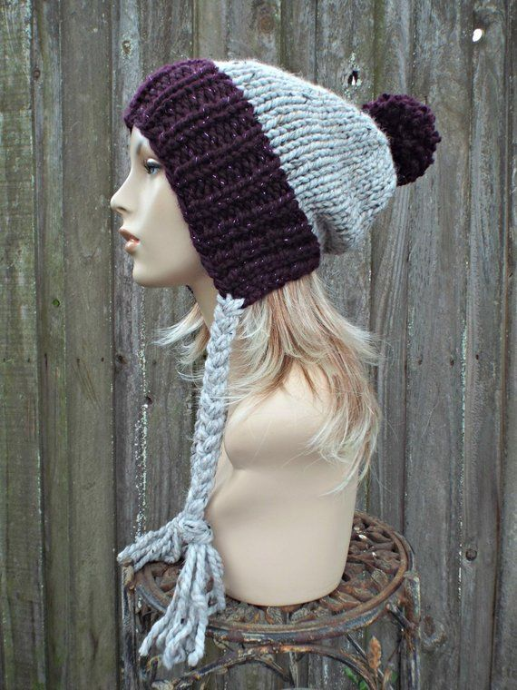 e9225e1c939 Chunky Knit Hat Womens Purple and Grey Pom Pom Hat - Slouchy Ear Flap Beanie  With Braided Ties Warm Winter Hat - Charlotte - READY TO SHIP