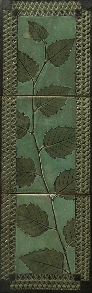 "6""x18"" Tile Mural, Mission style, Celadon Birch #1X3CG2 – Suzanne Crane Fine Stoneware"