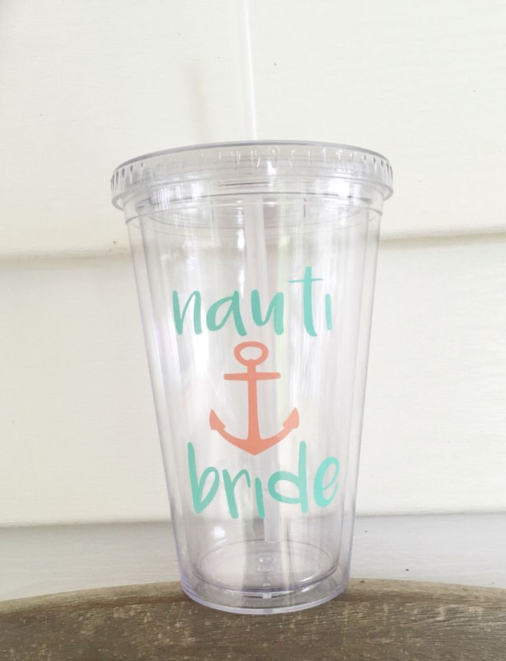 A personal favorite from my Etsy shop https://www.etsy.com/listing/288657249/nauti-bride-tumbler-nautical-decor