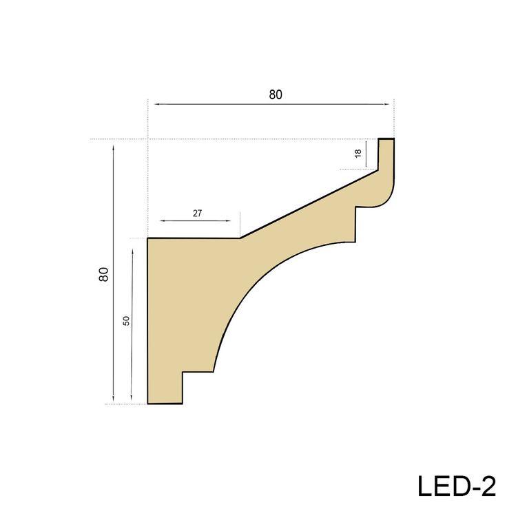 10 Meter LED Profil, PU Stuckleiste indirekte Beleuchtung stoßfest 80x80, LED-2 002