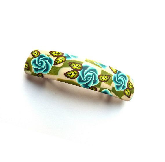 Hair Barrette French clip -  Turquoise ROSES and leaves, flowers, floral barrette,  polymer clay, Made in France on Etsy, $21.09
