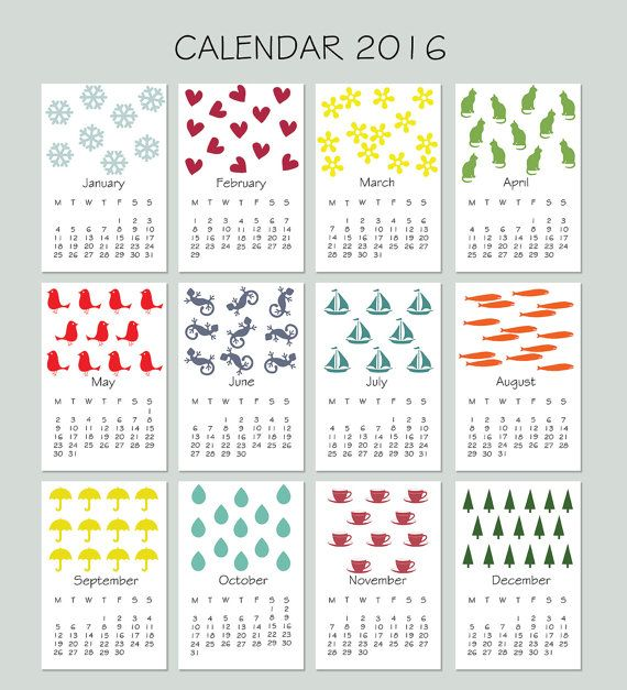 2016 Wall Calendar, Appointment Calendar, Colorful, Shapes, Patterned Decor, PLAN each day, INSTANT DOWNLOAD.  This listing is for an INSTANT