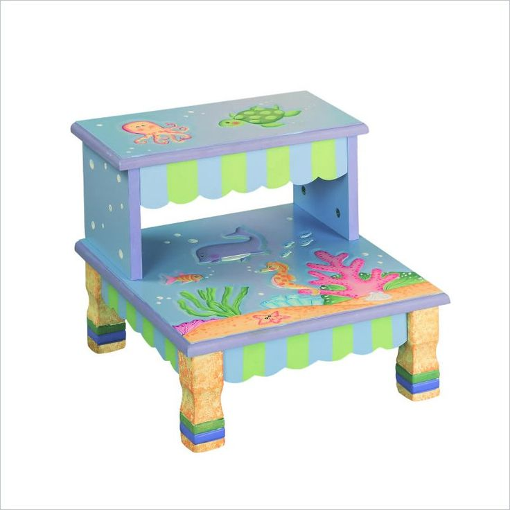 Kids Under the Sea Hand Painted Step Stool