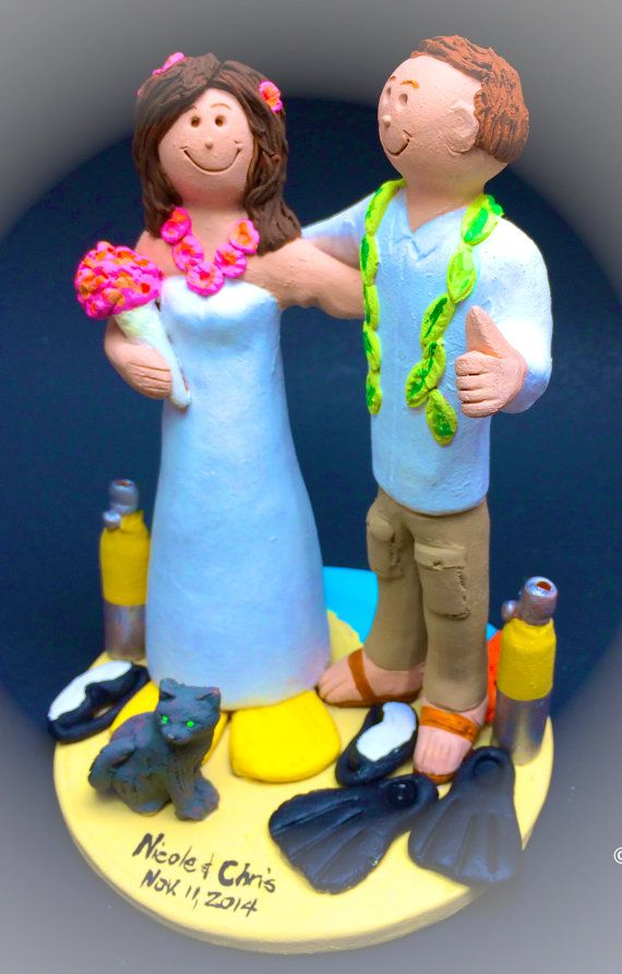Bride and Groom Wearing Hawaiian Lei's Wedding Cake Topper - Custom Made Destination Wedding Cake Topper, Beachside Wedding Cake Topper    This photographed listing is but an example of what we will create for you....simply email or call toll free with your own info and pictures of yourselves, and we will sculpt for you a treasured memory from your wedding!     $235   #magicmud   1 800 231 9814   www.magicmud.com