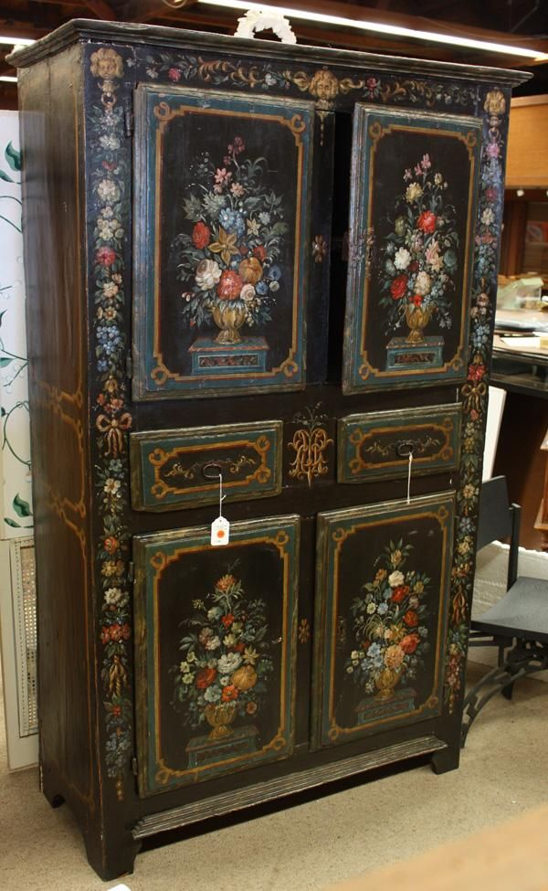 1810 Country French Black Floral Painted Armoire