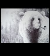 Bear smoking pipe, Morten Løfberg ARTREBELS.COM