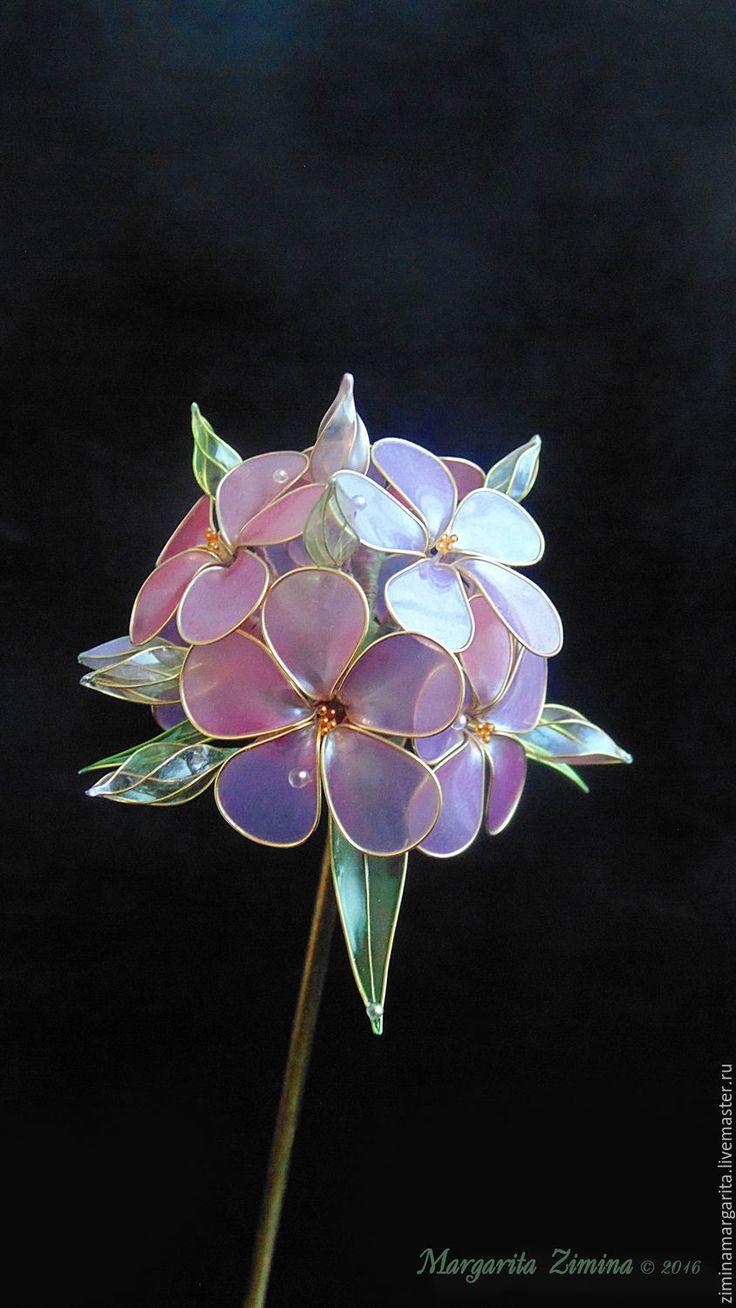 Купить Флоксы (Phlox). Шпилька для волос. Ювелирное украшение. - сиреневый, свадьба, выпускной, Праздник Exquisite Wire and Resin Kanzashi Flower Hair Jewelry.