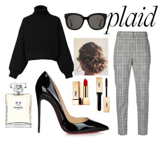 """""""Untitled #83"""" by belleizzie ❤ liked on Polyvore featuring Alexander Wang, Diesel, Christian Louboutin, Gentle Monster, Yves Saint Laurent, Chanel and plaid"""
