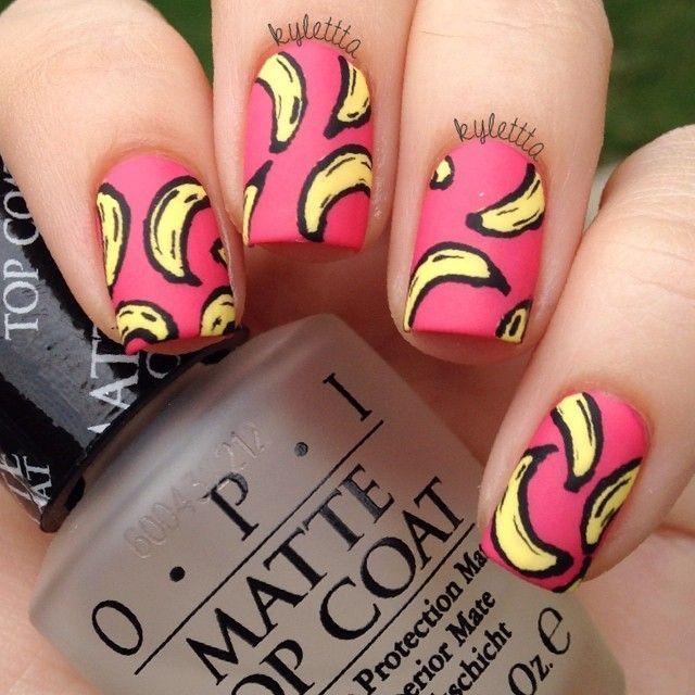 banana nail art, @kylettta