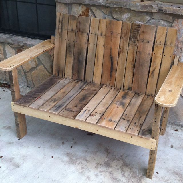 bench i just finished made out of pallets rough finished