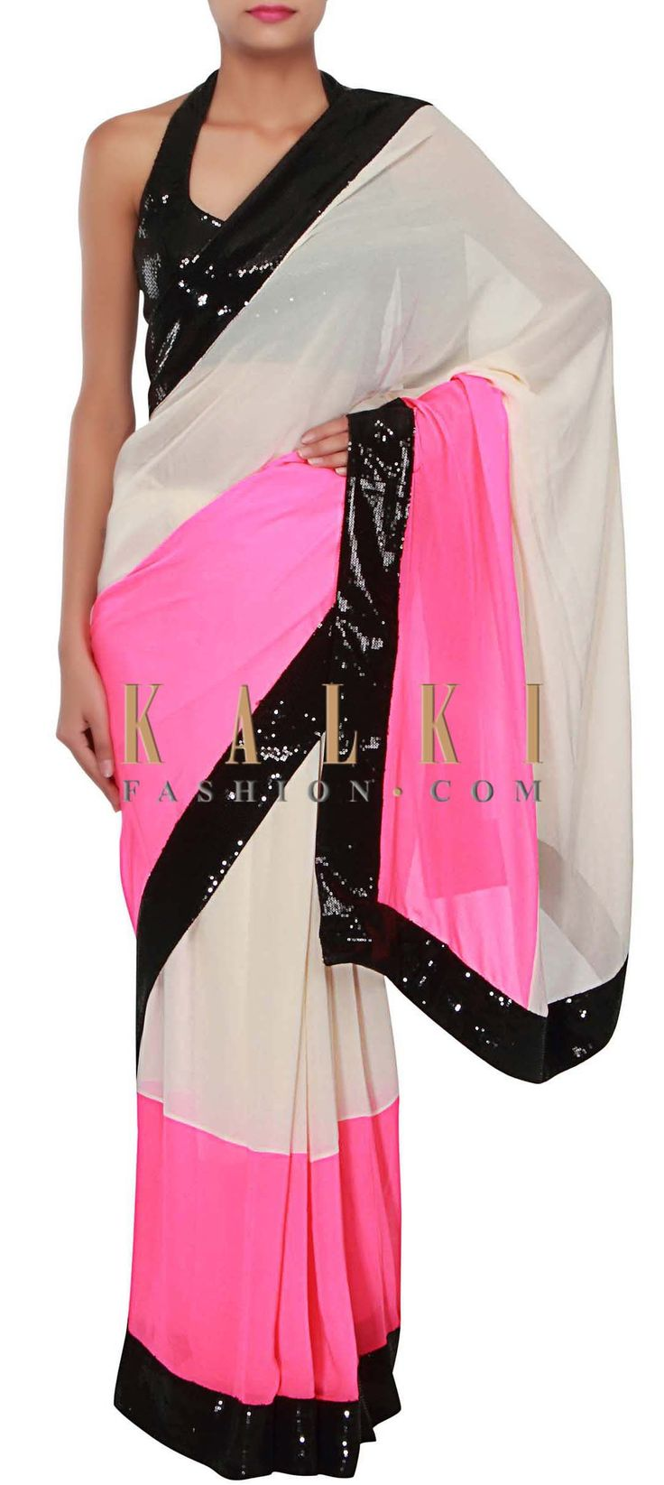 Buy Online from the link below. We ship worldwide (Free Shipping over US$100) http://www.kalkifashion.com/cream-and-pink-saree-adorn-in-sequin-embroidery-only-on-kalki.html