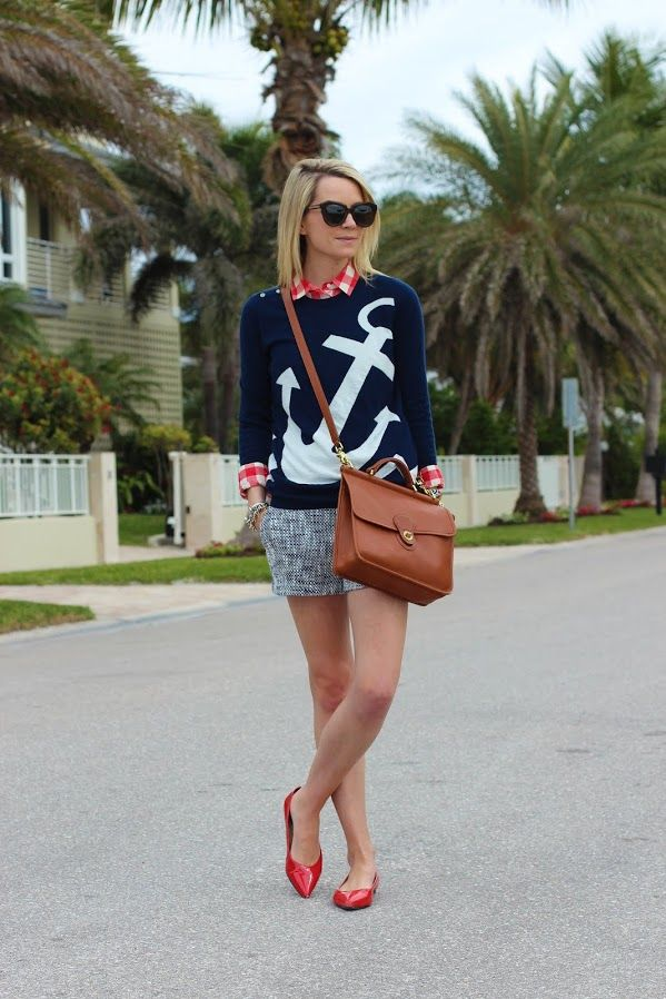 anchors away--Sweater: Joie c/o. Gingham Shirt: Madewell (old). Shoes: Banana Republic (old). Shorts: Joie c/o. Purse: Coach. Sunglasses: Karen Walker. Jewelry: Michael Kors Watch, Stella and Dot, David Yurman, The Ropes. Cute outfit, Miami winter~!