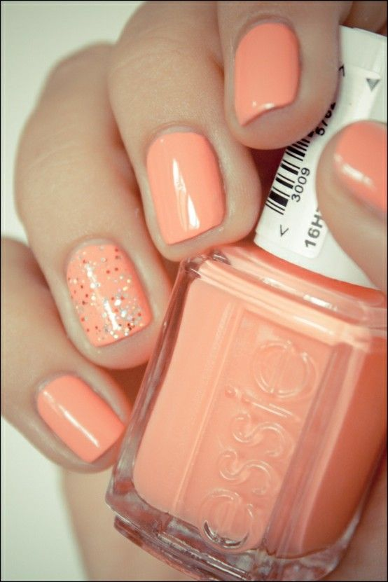 essie nail polish with one glittery accent nail love this understated but fun look