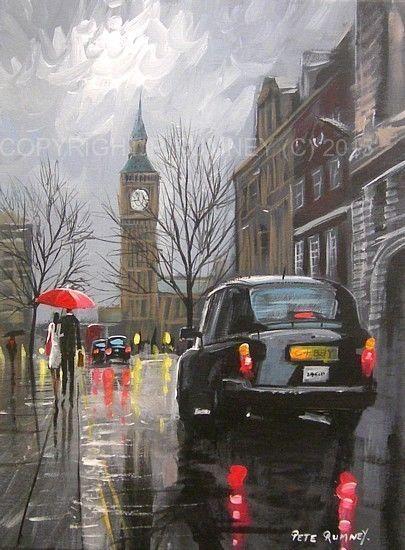 PETE RUMNEY FINE ART MODERN ACRYLIC OIL ORIGINAL PAINTING LONDON BIG BEN TAXIS in Art, Artists (Self-Representing), Paintings | eBay