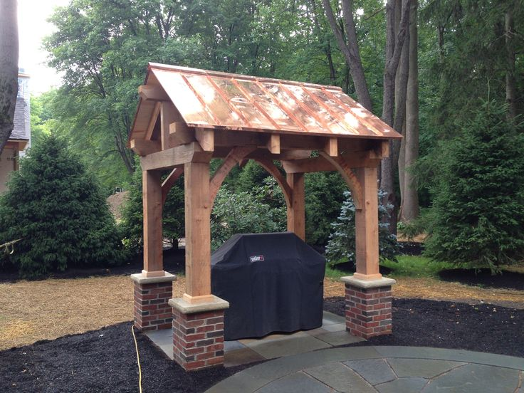Completed Pergola With A Standing Seam Copper Roof My