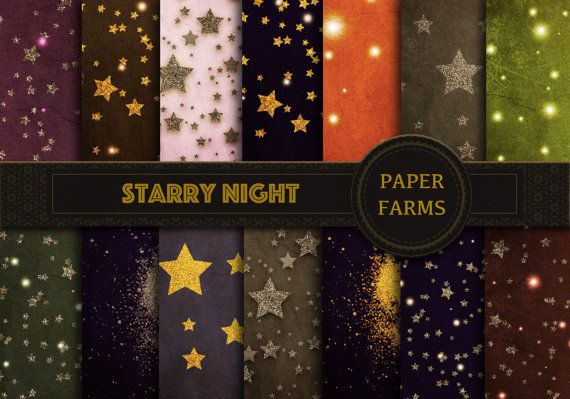 Night sky digital paper space digital paper gold by PaperFarms