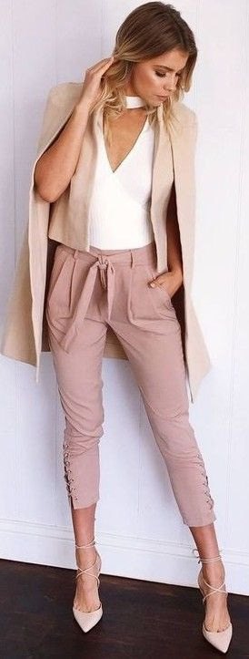 Beige Blazer Cape + White Bodysuit + Dusty Pink pants                                                                             Source