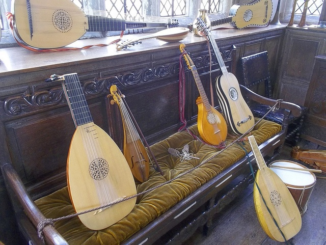 Baddesley Clinton, Warwickshire - display of medieval musical instruments by Spen Valley Wanderer, via Flickr