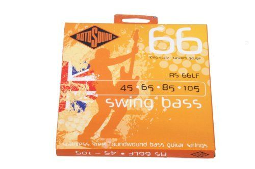 Rotosound RS66LF Swing Bass 66 Stainless Steel Bass Guitar Strings (45 65 85 105) by Rotosound. Save 50 Off!. $19.95. The most popular Roundwound bass string ever. Rotosound was the first string company to produce this kind of string. Introduced in 1962 it changed the sound of the instrument instantly. The favourite string of many players including Billy Sheehan, John Paul Jones and Geddy Lee. Available in all popular gauges and scale lengths. The steel used to produce these strings is…