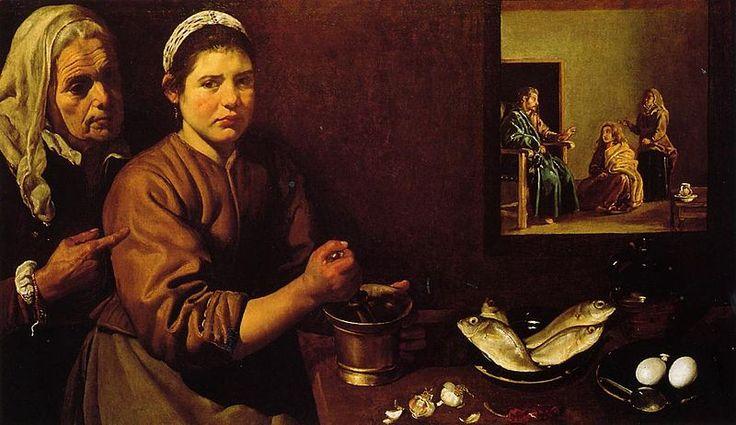 Diego Velázquez.. Cristo en casa de Marta y María. National Gallery de Londres.